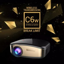 Cheelux C6 wireless Proyektor Projector wifi 1200 ansi Lumens TERBARU