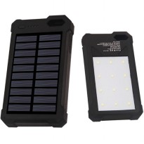 Power Bank 2 USB 12000mAh with Solar Panel - Black
