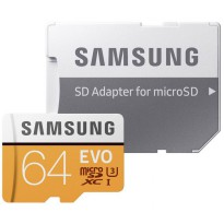 Samsung MicroSDXC EVO Class 10 UHS-1 (100MB/s) 64GB With SD Adapter - MB-MP64GB