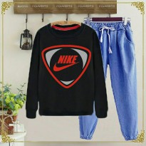 Setelan Black Nike 2 in 1