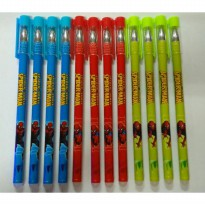 Pulpen Gel Hapus Spiderman 0,5 Hitam (Pack 12 Pcs)