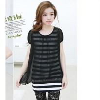 New Korean bow stripes leave two Chiffon Dress (Material : Cotton + Chiffon)