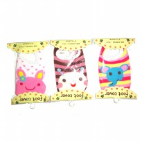 Busha Foot Cover Animal - Kaos Kaki Bayi - Isi 3 pcs Mix Motif Girl