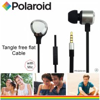 Polaroid Metal Earphone with microphone & tangle free flat cable handsfree stereo headset PRE203-SV
