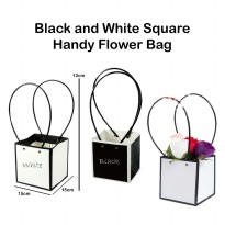 Black and White Square Handy Flower Bag – Kantong Bunga