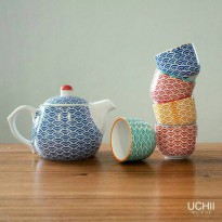 UCHII Ceramic Tea Set - Wave Pattern / Teko Teh, Poci Set dan Cangkir Keramik set