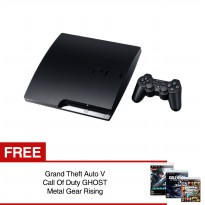 [Sony] Playstation 3 Slim 160GB Original / Hitam / Gratis Game Ori GTA, COD Ghost, Metal Gear Rising