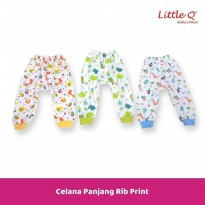 Celana Panjang Rib Print New Born Merk Little Q isi 3 pcs