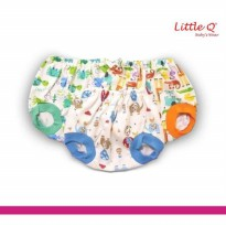 Celana Pop Kacamata New Born Print Merk Little Q isi 3 pcs