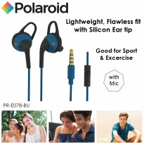 polaroid earphone sports in ear with microphone &silicone ear tip handsfree stereo headset PRE078-BU