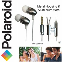 Polaroid metal earphone with microphone & aluminium wire handsfree stereo headset PRE204-GY