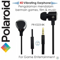 Polaroid vibration earphone 4D effect for gaming ,film&music.Tangle free w/ mic handfree stereo E223