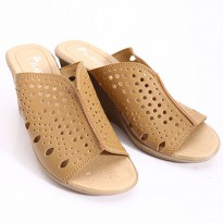 Dr.Kevin Leather Wedges Sandals 27227 Tan