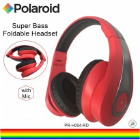 Polaroid headphone over ear fit with super bass, soft ear pad & foldable for easy storage H004-RD
