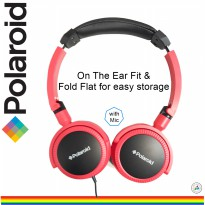 Polaroid headphone on ear fit with soft ear pad &foldable for easy storage handsfree headset H096-RD