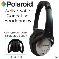 Polaroid super bass over ears fit Active Noise canceling headphone soft ear pad and foldable(PRN018)