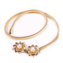 Cannies Belt Double Flower Pearl/Gold