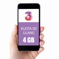 TRI Three Paket Data Kuota 4GB (Ikut Masa Aktif Kartu)+4GB All+Unlimited Youtube (15Hr)