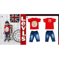 STELAN ANAK RED A + PANTS JEANS (RSBY-946)