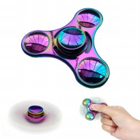 [Exclusive Elevenia] Fidget Spinner Rainbow Three Ball Hand Finger Toys Mainan Anti Stress