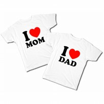 Kaos anak I LOVE DAD/MOM