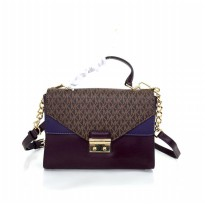 Michael Kors Sloan Logo and Leather Chain - Brwon Purple