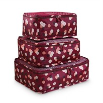 Traveling Bag in Bag Organizer (1 set isi 6 pcs ) Maroon Flower
