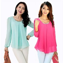 Korean style blouse with necklace long sleeve 10 Colors