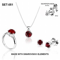 [SILVERDRAGON] SET4-8 PERHIASAN SET with SWAROVSKI® - 39 Colors - 4 Size