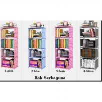 Rak buku single bookshelf book case self cabinet baju show case rack