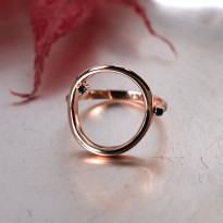 [Free Shipping] (S013) Rose Gold Sapphire stone round silver ring