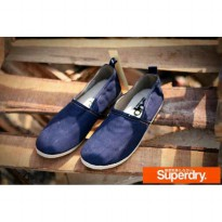 sepatu santai casual superdry candle navy blue canvas