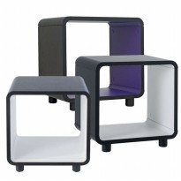 PRISSILIA - Boxy Night Stand Dengan Kaki [Black - Purple] 2 Pcs – Clearance Stock !!