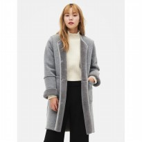 8SECONDS Faux Mustang Coat - Light Grey