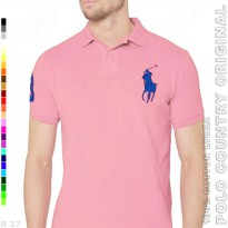 POLO COUNTRY Original C2-28 Polo Shirt Cowok Cotton Lycra Pink