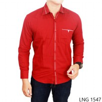 Mens Slim Fit Long Sleeve Shirts Katun Merah – LNG 1547