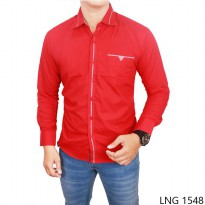 Male Slim Fit Shirts Katun Merah – LNG 1548
