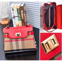 Tas Tenteng Bahu Totebag Merah Hot Red Burberry Guess Gucci Wanita Cnk