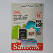Micro SD Sandisk Ultra 32 GB SPEED 80MB/s CLASS 10 UHS1 With Adaptor (DIJAMIN ASLI)