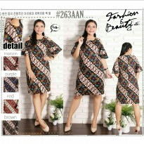 Jumbo cut out off shoulder dress batik big size katun stretch gaun cantik
