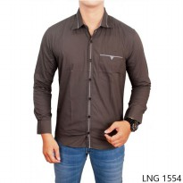 Men Fashion Slim Fit Shirts Katun Abu Tua – LNG 1554