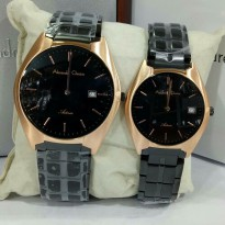 Alexandre Christie 8521 Rose Gold Hitam - Jam Tangan Couple Original