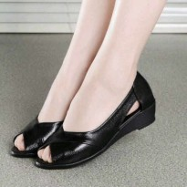 [Sh] Sepatu Wedges 0241 Black, Green,Cream PU Leather