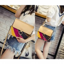 Tas Selempang Mini Clutch Rainbow Rantai Branded High Quality Beludru