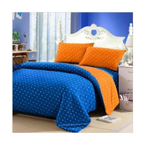 Jaxine Polkadot Katun Set Sprei - Biru Orange (160*200)
