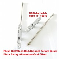 Flush Bolt/Flash Bolt/Grendel Tanam Kunci Pintu Swing Aluminium-Oval Silver