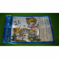 Europe Cross Stitch motif Couple play golf 21x29 + benang dan jarum