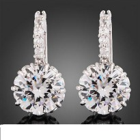 Anting Perak Enchanted Austrian Crystal Dangling Earrings