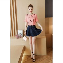 Jfashion Blus tangan pendek Gaya Korea Varias Pita - Windy