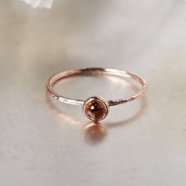 [Free Shipping] (S013) Real Stone November birthstone topaz rose gold silver ring